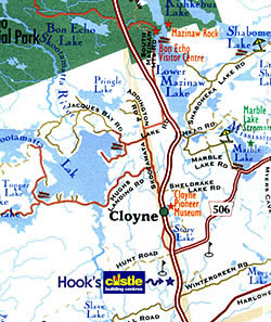 Map to Hooks Rona Cloyne